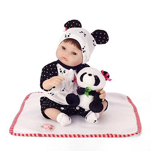 Nicery Reborn Baby Doll Soft Simulation Silicone Vinyl 16inch 40cm Lifelike Magnetic Mouth Vivid Boy Girl Toy Panda Clothes RD40C009W