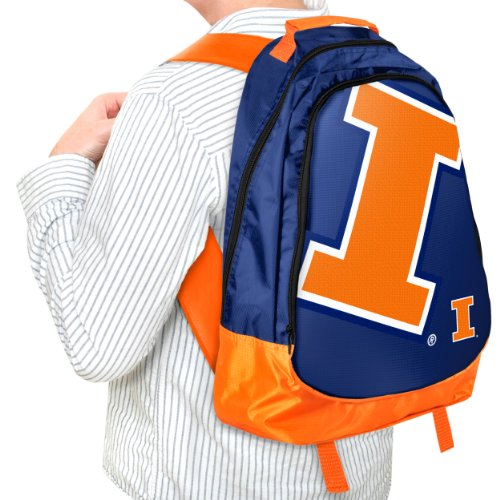 Illinois Fighting Illini Backpack (Forever Collectibles NCAA Illinois Illini Core Structed Backpack)