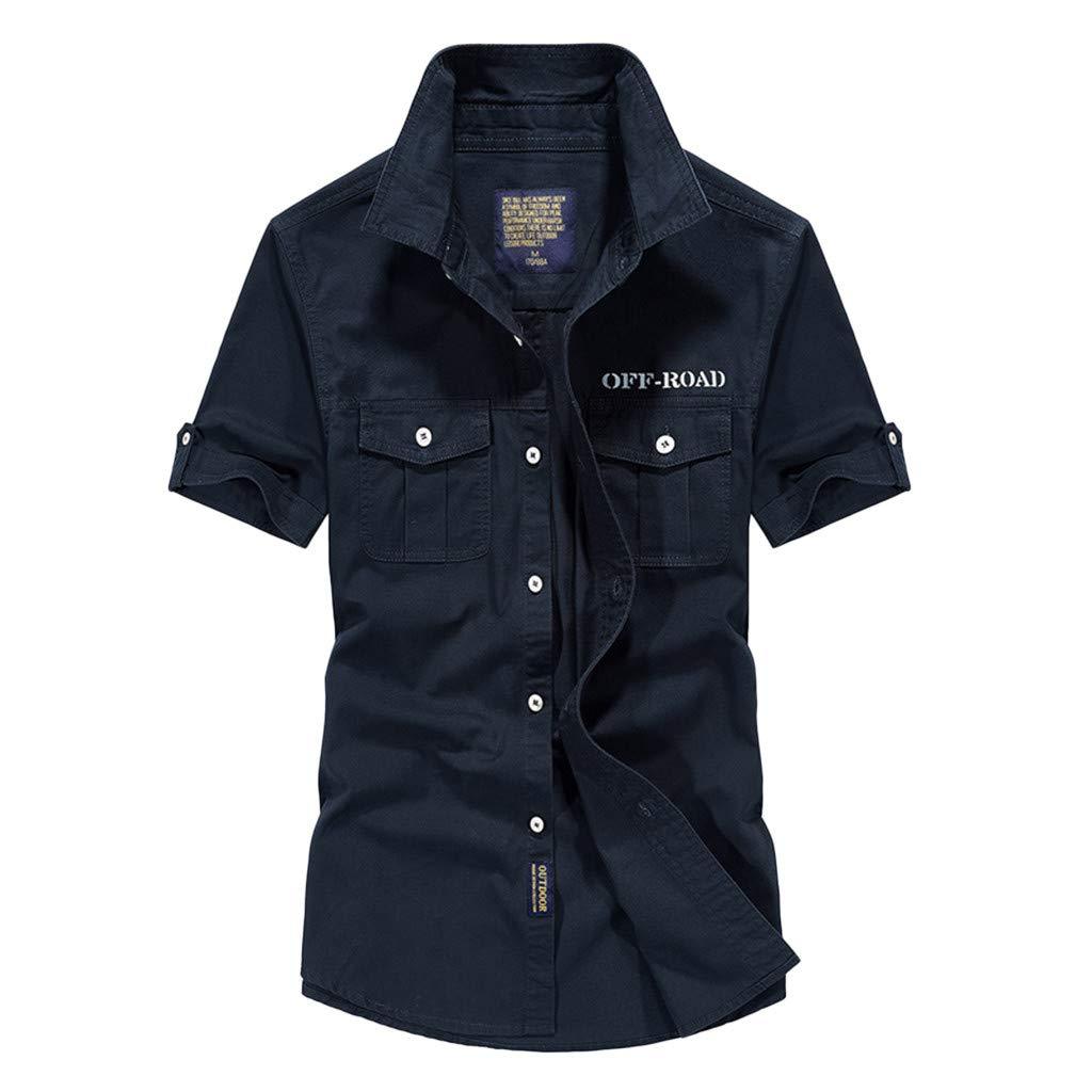 Men's Short Sleeve Military Button Down Cargo Shirt Dark Blue
