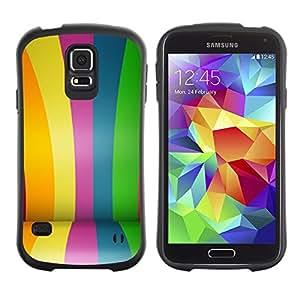 Paccase / Suave TPU GEL Caso Carcasa de Protección Funda para - Coated Colorful Lines Stripes Fair - Samsung Galaxy S5 SM-G900
