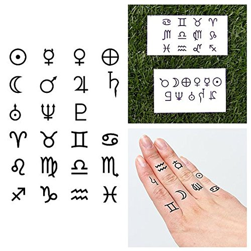 Tattify Astrological Symbol Temporary Finger Tattoos - Reach for the Stars (Set of 23) - Other Styles Available and Fashionable Temporary Tattoos