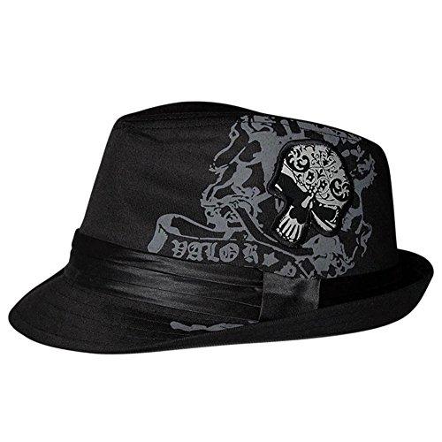 LOCOMO Skull Bone Skeleton Trilby Fedora Short Upturn Hat Cap FFH379BLK Skull Fedora