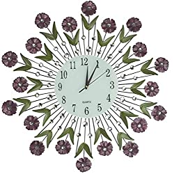 LuLu Decor, Flower Burst Wall Clock 24, White Glass Dial with Arabic Numerals 8.5, Decorative Metal Wall Clock for Living Room, Bedroom, Office Space
