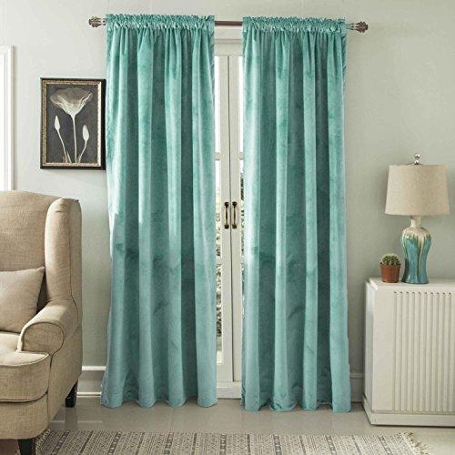 t velvet window curtain Rod Pocket Drapes Aqua 52