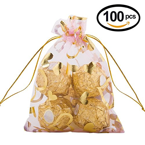 Wuligirl 100pcs Drawstring Organza Bag 4×6 Jewelry Candy Pouches Wedding Party Favor Gift Bags iPhone Bags for Women Girls
