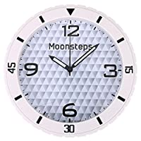 Halconia Modern Silent Non-Ticking Large Dial Rubber Ridged Frame Home & Office Wall Clock, White