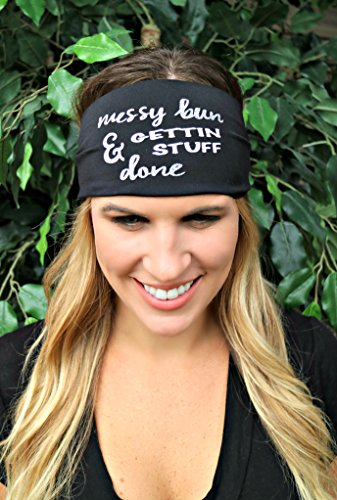 Go Girl Hippie (RAVEbandz! Exclusive Fashion Headbands (SLOGANZ) - Non Slip Wide Hippie Boho Sports Fitness Performance Athletic Hair Bands for Women and Girls (Messy Bun))