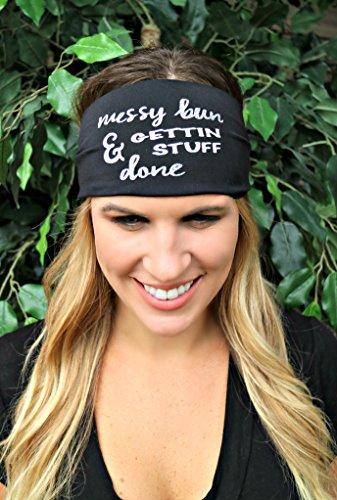 Girl Hippie Go (RAVEbandz! Exclusive Fashion Headbands (SLOGANZ) - Non Slip Wide Hippie Boho Sports Fitness Performance Athletic Hair Bands for Women and Girls (Messy Bun))