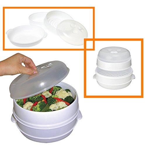 Handy Gourmet 83-5001V White 2 Tier Microwave Steamer