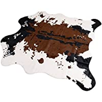 Brown Cow Print Rug 55.1Wx62.9L Faux Cowhide Rugs Cute Animal Printed Carpet For Home