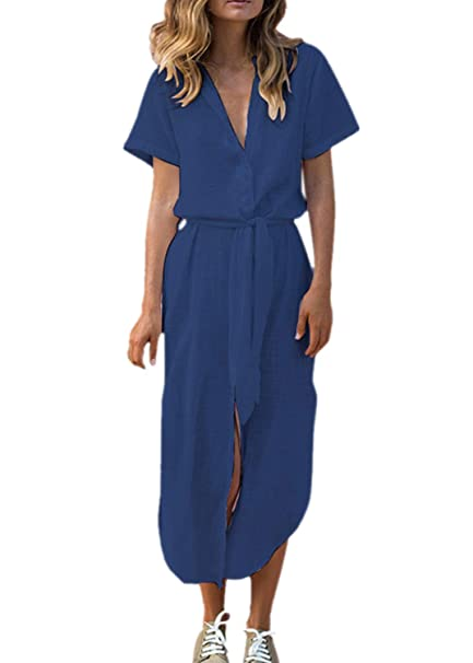 Briskorry Elástica Vestido Camisero Enagua de Manga Corta Color Liso Falda, Botones Decorativos Uniforme Casual Faldas de la Gasa: Amazon.es: Ropa y ...