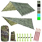 Gold Armour 12ft Extra Large Rainfly Tarp Hammock Rain Fly Cover, 185in Centerline, Waterproof Ultralight Ripstop Fabric, Survival Gear Backpacking Camping Tent Accessories