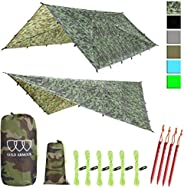 Gold Armour 12ft Extra Large Rainfly Tarp Hammock Rain Fly Cover, 185in Centerline, Waterproof Ultralight Rips