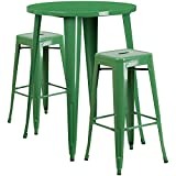 30'' Industrial Round Green Metal Indoor-Outdoor Restaurant Bar Table Set with 2 Square Seat Backless Stools