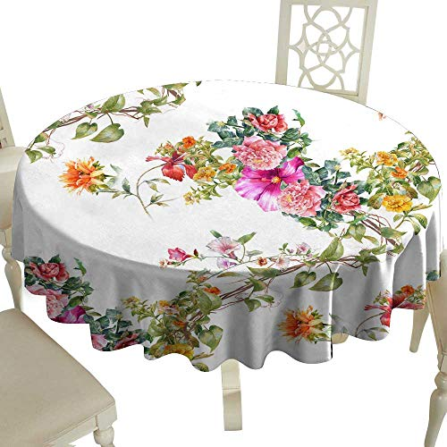(WinfreyDecor Fabric Dust-Proof Table Cover Watercolor Painting of Leaf and Flowers Seamless Pattern on White Background for Kitchen Dinning Tabletop Decoration D71)