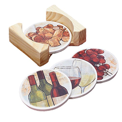 4PCS Vintage Style Round Coasters Cup Mats Drinks Holder Placemats Table Decor