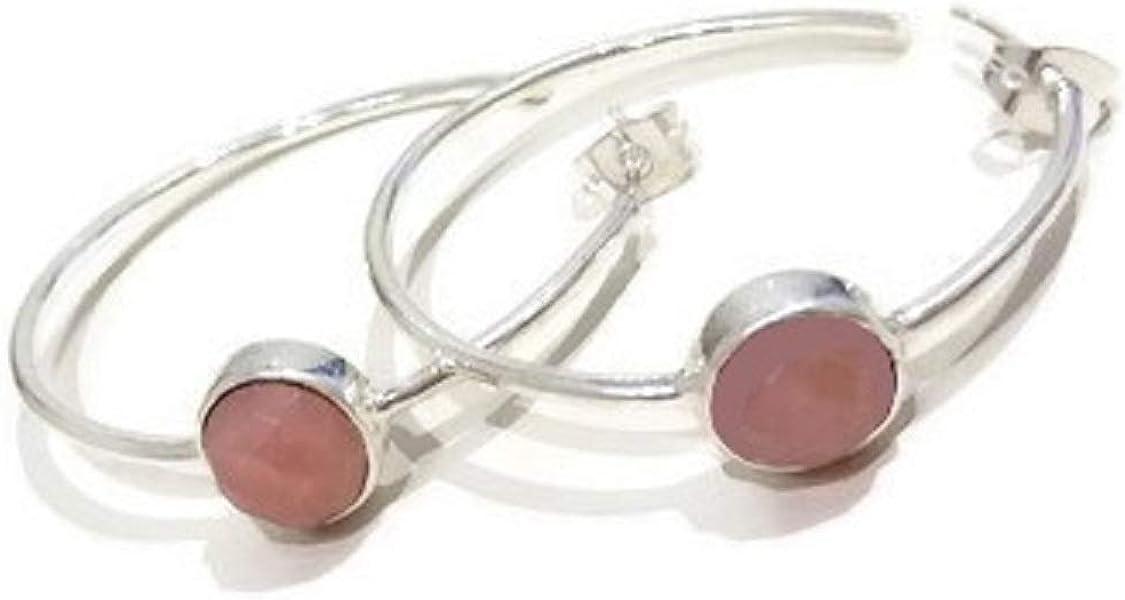 bijouxdemylene - Pendientes de aro chapados en Plata para Mujer o niña, con una Piedra de la Familia de Cuarzo, Color Rosa