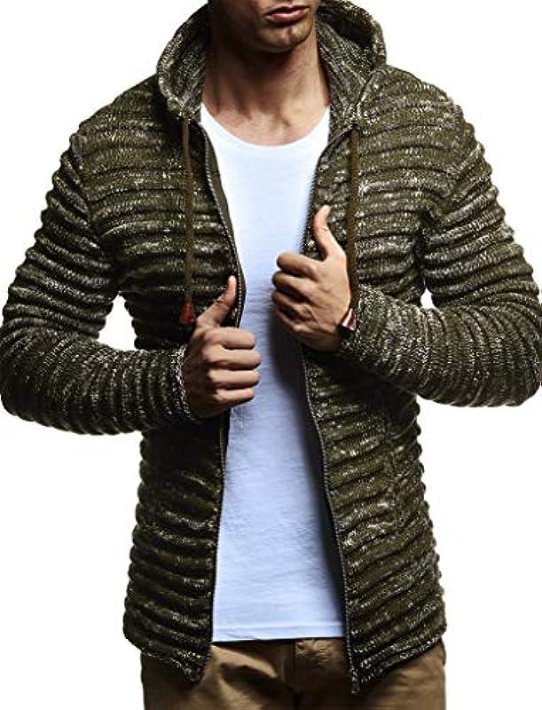 Leif Nelson Męska kurtka z dzianiny z kapturem Slim Fit gruba dzianina nowoczesna czarna męska bluza z kapturem kurtka zimowa z długim rękawem, gruba dzianina LN20724: Odzież