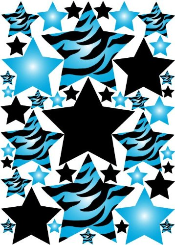 Amazon.com: Blue 3D Zebra Print Star Wall Sticker Decals: Home U0026 Kitchen
