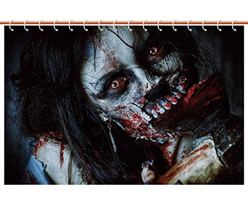 iPrint Unique Shower Curtain [ Zombie Decor,Scary Dead Woman with Bloody Axe Evil Fantasy Gothic Mystery Halloween Picture,Multicolor ] Decorative Curtain Ideas by iPrint