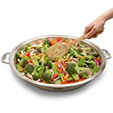 """CucinaPro Electric Skillet with Tempered Glass Lid- Professional Grade Non-stick Cooker w Stainless Steel Body- 12"""" Round"""