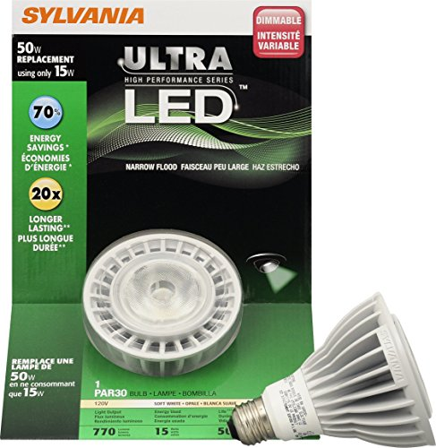 50w Par30 Halogen Lamp (Sylvania 78494 13 Watt Ultra LED PAR30LN Dimmable Long Neck Halogen Lamp, Replaces 50 Watt)