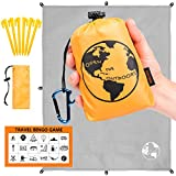 Traveler's Outdoor Gear Pocket Blanket | 70''x55'' Best Lightweight Hiking Tarp for Camping and Backpacking | Comes with 6 Stakes, Bottle Opener Carabiner, Travel Bingo Game and Bag by OpenTheOutdoors