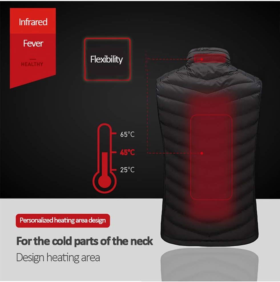 BNBXP Hiver Thermique Chauffé Gilet USB Infrarouge Électrique Hommes Femmes Chauffage Veste Plume Décontracté Gilet A