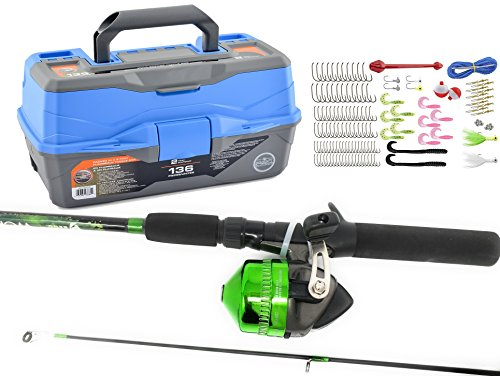 South Bend Ready 2 Fish Tackle Box & Worm Gear Rod & Spincast Reel Combo (Green Rod) (Reel Box)