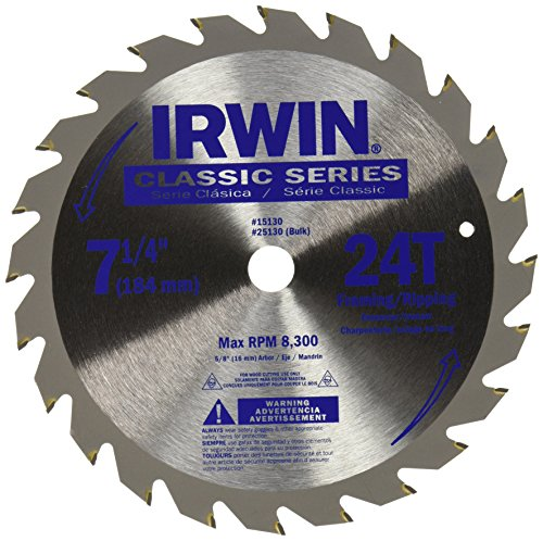 IRWIN Tools Classic Series Steel Corded Circular Saw Blade, 7 1/4-inch, 24T (15130) American Tool Saw Blade