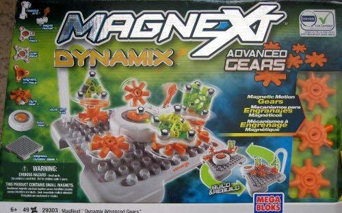 Mega Bloks Magnext Dynamix Advance Gears 49 Pieces 20+ Extreme Configurations W Magnetic Motion (2008) - Magnext Dynamix Gears