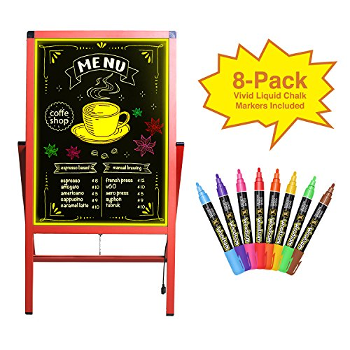 "Woodsam 28""x 20"" LED Sign A Frame Chalk Board/Felt Letter Chalkboard/Markers Erase Calendar/Bulletin/Yard Signs Sidewalk Neon Glass&Chalk Black Board Standing Easel for Wedding Decor/Outdoor Display Floor Marker Sign"