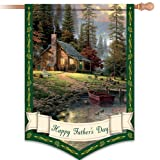 Thomas Kinkade Happy Father's Day Decorative Flag by The Hamilton Collection For Sale