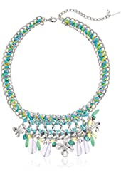"""Steve Madden """"Color Blossom"""" Shaky Mixed Multi Charm Thread Woven Necklace, 18"""" + 2"""" Extender"""