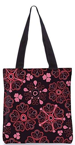 """Snoogg Floral Roten Einkaufstasche 13,5 X 15 In """"Shopping-Dienstprogramm Tragetasche Aus Polyester Canvas"""