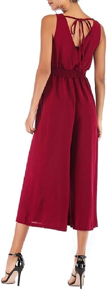YIhujiuben Women Solid Color V-Neck Ankle-Length High Waist Jumpsuits Rompers