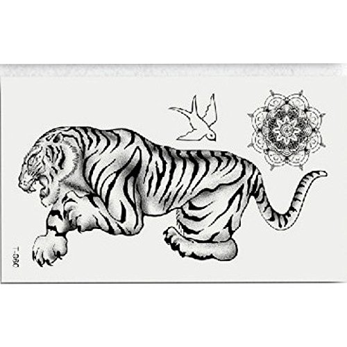 Transer Temporary Tattoos, Large Waterproof Fake Tattoo Stickers for Women Men, Animals and Butterfly, Easy to Apply and Long Lasting (Tiger) -