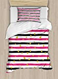 Gold and White Duvet Cover Set by Ambesonne, Romantic Teenager Love Sign Hearts on Grunge Stripes Lines, 2 Piece Bedding Set with 1 Pillow Sham, Twin / Twin XL Size, Hot Pink Black and White