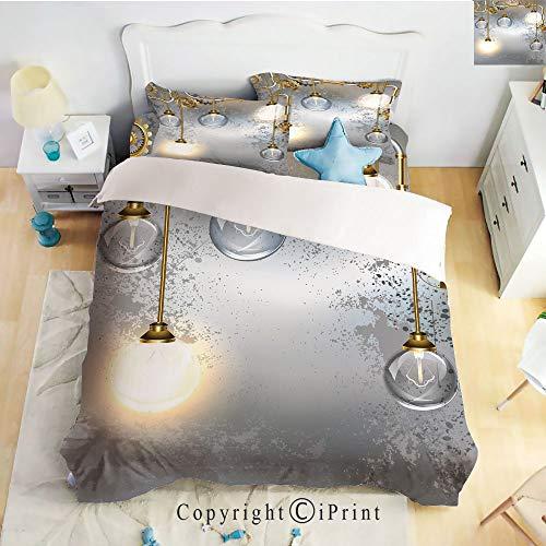 Elegant Comfort Best,Softest,Coziest 4 Piece Sheet Sets,Steampunk Antique Composition Brass Fastening Round Figures Print Decorative,Gold Grey White,Full Size