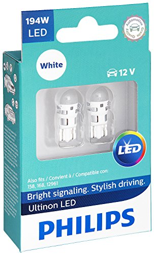 Philips 194 Ultinon LED Bulb (White), 2 Pack (Leaf Bulb 1)