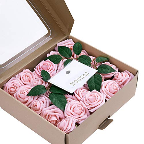 PENGYGY Artificial 50pcs Roses Flowers Coral Real Looking Fake Roses for DIY Wedding and Party (Pink)