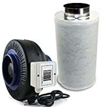 VenTech VT IF6+CF6 IF6CF620 Inline Duct Fan with Virgin Charcoal Carbon Filter Combo, 440 CFM, 6""