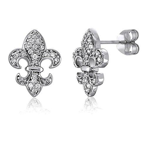 BERRICLE Rhodium Plated Sterling Silver Cubic Zirconia CZ Fleur De Lis Wedding Stud Earrings