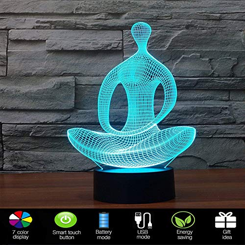 Lmeison 3D Night Light Illusion Lamp LED Desk Table Lamp with USB Cable, 7 LED Colors Change, Smart Touch, Button Control, Acrylic Panel & ABS Base, Best Gift for Boys Girls
