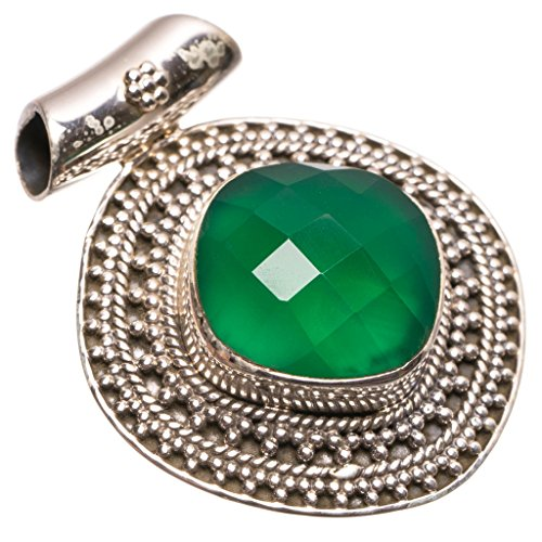 StarGems(tm) Natural Chrysoprase Punk Style Vintage 925 Sterling Silver Pendant 1 1/2