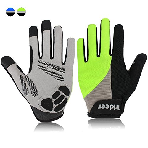 Trideer Padded Full Finger Cycling Gloves, Touch-Screen Mountain Road Gloves Anti-Slip, Bicycle Racing Gloves Biking Gloves (Full Finger Green, L (Fits 7.6-8.1 inches)) ()