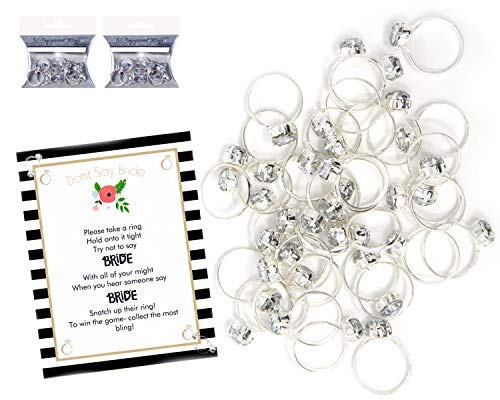 Plastic Rings for Bridal Shower Games Don't Say Bride Game For 24 Players with 24 Plastic Diamond Engagement Rings -