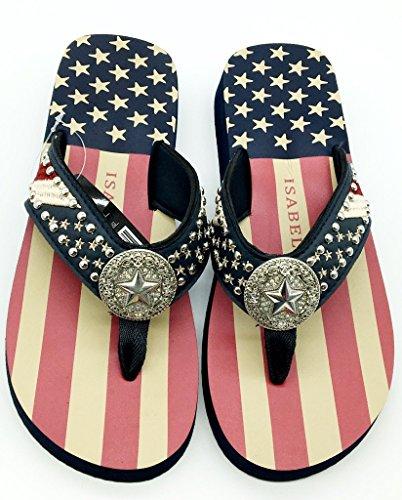 Women Flip Flop Flat American Flag Western Ladies Slipper Navy Blue Sandals