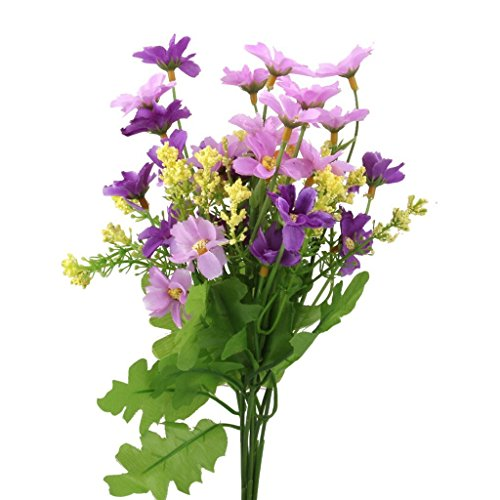 MagicW 1 Bunch Wedding Silk Cineraria Flowers Bouquets Fake Artificial Flowers Bouquet in Bulk for Decoration Home Office Decor(Fuchsia and Purple)