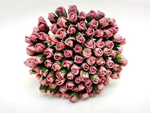 Tyga_Thai Brand 100 pcs. Dusty Pink Color Rose Buds Mulberry Paper Flower Craft Handmade Wedding 5 mm. Scrapbook for so Many Card & Craft Projects CMR2-1#107 (MULBERRY-PAPAER-ROSE-5MM)